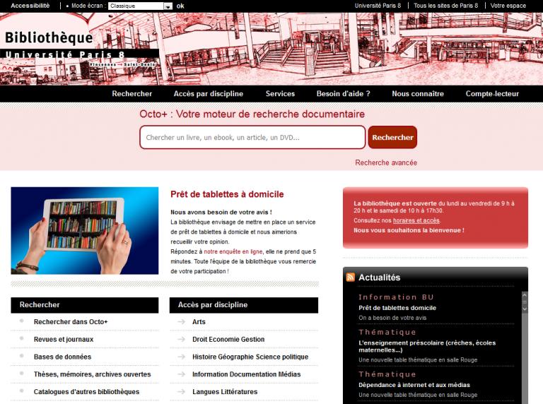 Site Internet de la BU de Paris 8