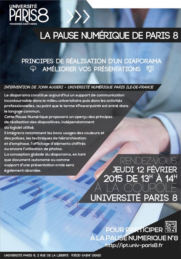 """Pause Numérique N°8 du 12 février 2015: """"Principes de réalisation d'un diaporama - améliorer vos présentations"""" - John Augeri (Paris 8) ©2015 Hakim Salah BAPN"""