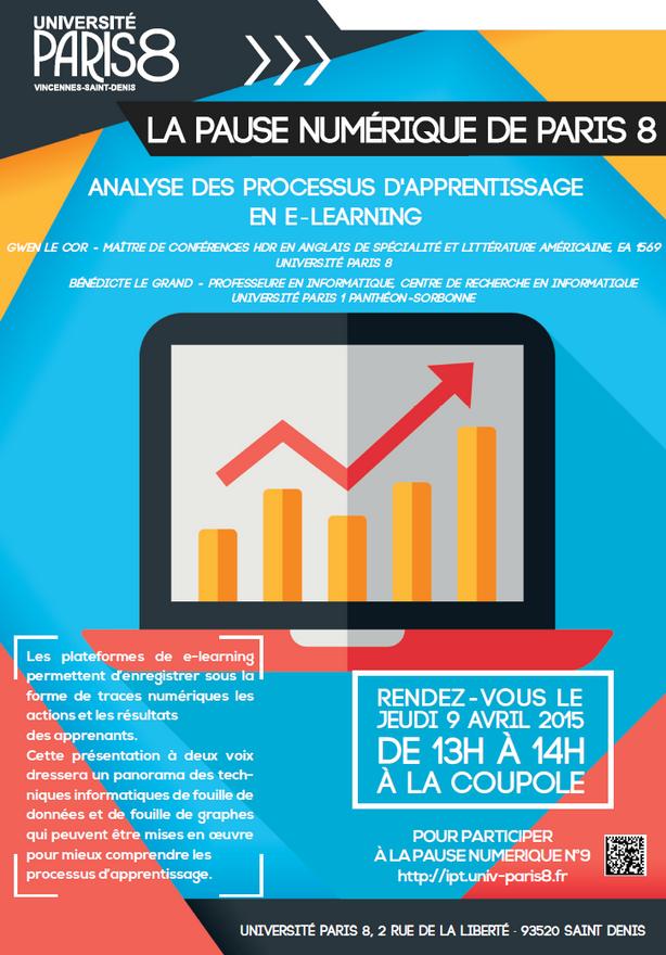 """Pause Numérique N°9 du 13 avril 2015 : """"Analyse des processus d'apprentissage en e-learning"""" - Gwen Le Cor (Paris 8) ©2015 Hakim Salah BAPN"""