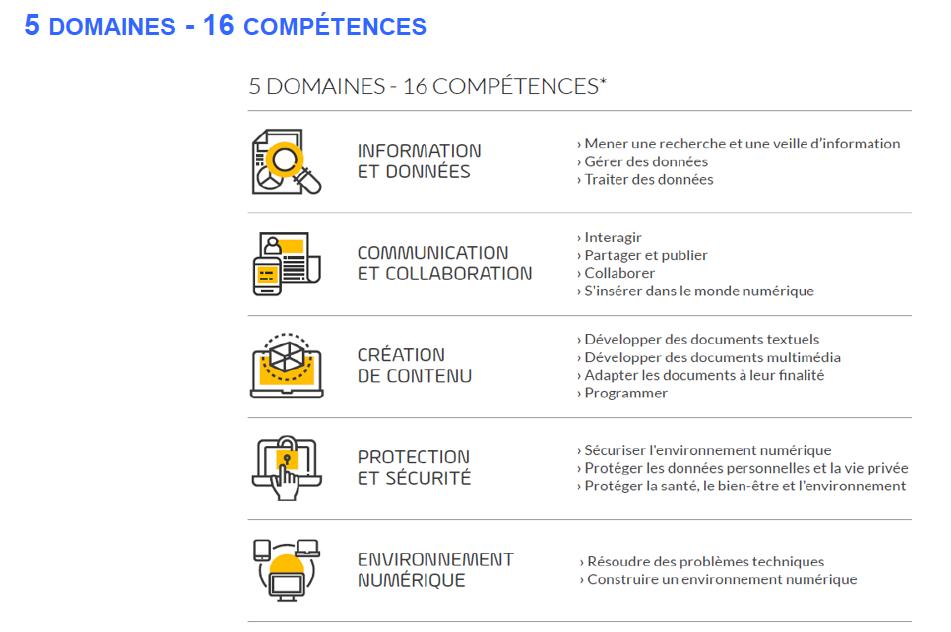 Image représentant les 5 domaines et 16 compétences du référentiel des compétences numériques PIX