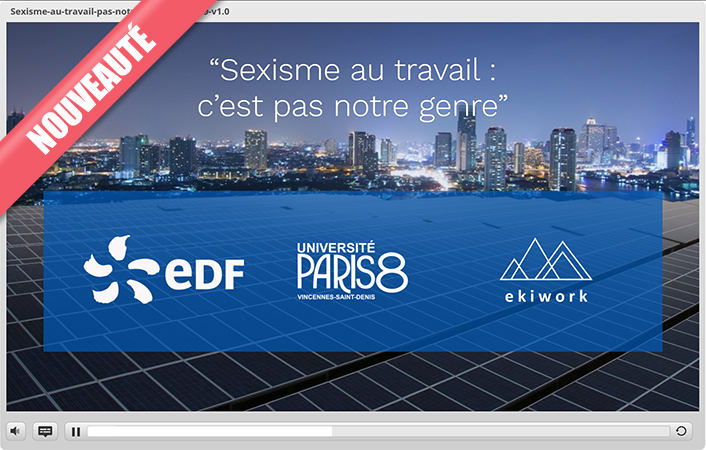 Capture d'écran du module de formation en ligne (e-learning) développé par l'Université Paris 8 et Ekiwork pour EDF.